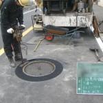 円弧転圧機による転圧(下層)
